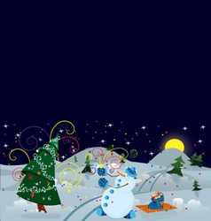 Snow man making firework banner vector image