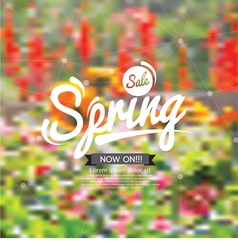 Spring Sale Design With Floral Blurred Background vector image