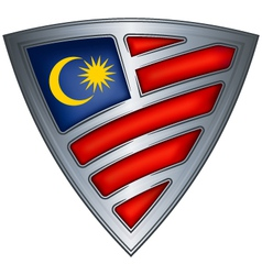 Steel shield with flag malaysia vector