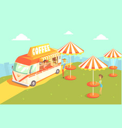 street cafe nature landscape with tables and vector image