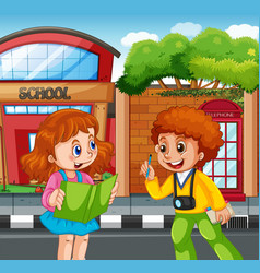 student in front school vector image