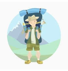 Tourist man with a big backpack vector