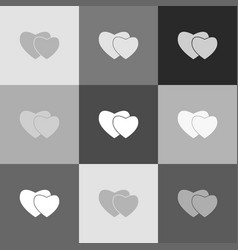 two hearts sign grayscale version of vector image