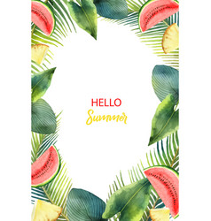 Watercolor card tropical leaves and fruits vector
