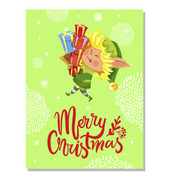 winter christmas card elf holding presents vector image