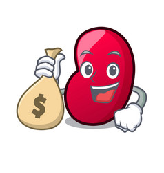 With money bag jelly bean character cartoon vector