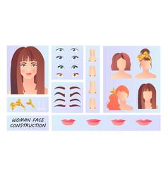 woman face constructor concept vector image