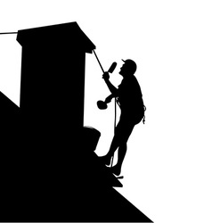 Worker on the house roof vector