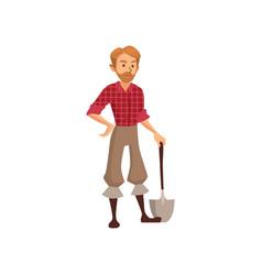 young farmer with shovel gardener at work cartoon vector image