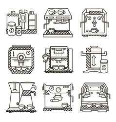 Black line icons for coffee machines vector