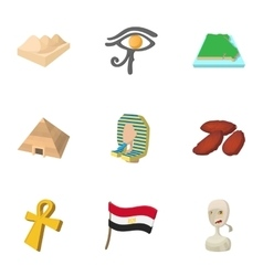 Country of Egypt icons set cartoon style vector image vector image