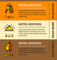 hotel services banners with color outline icons vector image