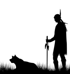 American Indian silhouette with dog vector image