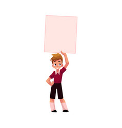 boy child kid holding blank empty poster board vector image vector image