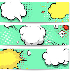 Bright dotted comic book style header set vector image vector image