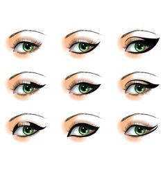Nine different eyeliners set vector image vector image