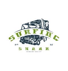 surfing emblem graphic design for t-shirt vector image