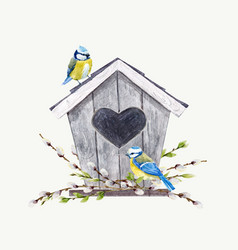 watercolor birdhouse with birds vector image vector image
