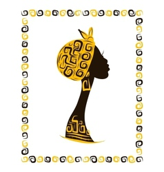 Female head silhouette for your design ethnic vector image vector image
