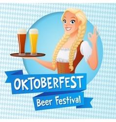 Oktoberfest card Cute girl in national vector image