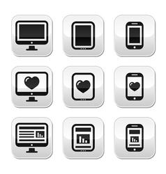 Responsive website design computer screen buttons vector image vector image