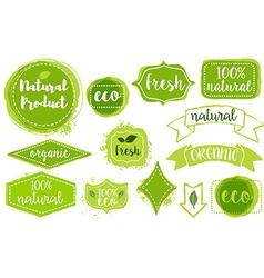 set of organic fresh eco labels vector image vector image