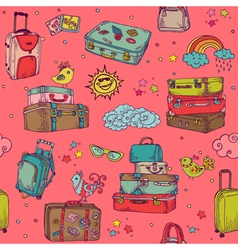 Vintage hand drawn suitcases background vector