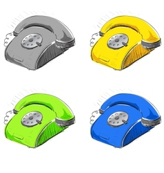 Vintage phone in many colors set vector image