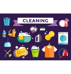 Cleaning icons set clean service vector