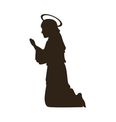 silhouette virgin mary praying on knees vector image vector image