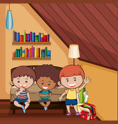 Three happy kids in bedroom vector