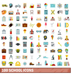 100 school icons set flat style vector