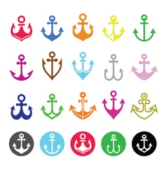 Anchor icons set - symbol of sailors sea and chr vector
