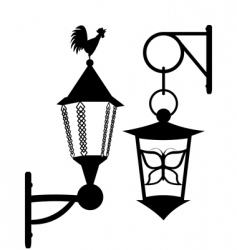 Ancient street lanterns vector