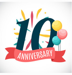 Anniversary 10 years template with ribbon vector