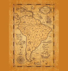 Antique map south america on old parchment vector