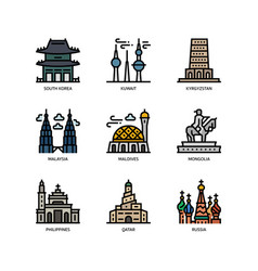 Asian cities and counties landmarks icons set 4 vector