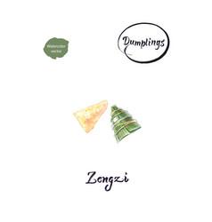 asian dumpling zongzi watercolor vector image