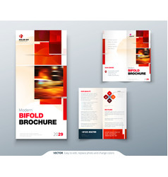 bi fold brochure design with square shapes vector image