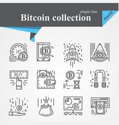 Bitcoin outline icon set vector