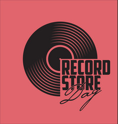 Black vinyl record store day flat concept vector