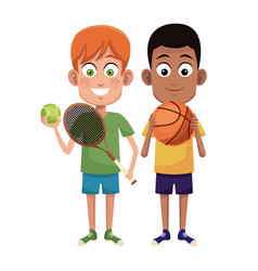 Boys sport tennis and basketball design vector