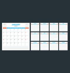 calendar planner for 2019 year week starts vector image