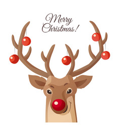 cartoon christmas funny rudolph red vector image