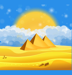 Cartoon egyptian pyramids in the desert with blue vector