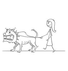 cartoon of woman walking with beast monster vector image