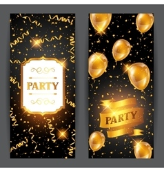 Celebration party banners with golden balloons and vector