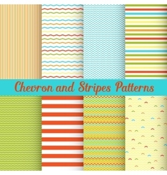 Chevron and Stripes patterns set vector image