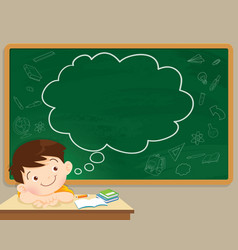 Children boy thinking and chalkboard vector