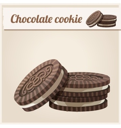 Chocolate cookie detailed icon series of food vector